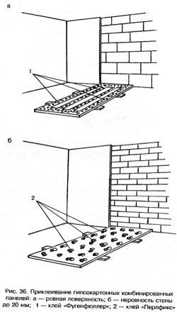 Приклеивание гипслкартонных комбинированных панелей
